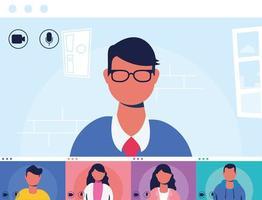 persone in una teleconferenza virtuale vettore