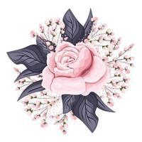 fiore rosa rosa con boccioli e foglie pittura