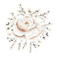 boccioli intorno al disegno della pittura di fiori bianchi