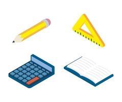 set di icone di istruzione e scuola vettore