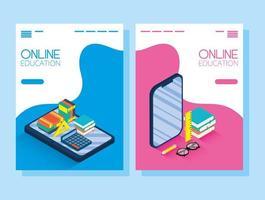 banner di formazione online ed e-learning impostato con smartphone