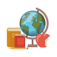 globo con libri e frutta mela su sfondo bianco