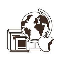 globo terrestre con libri e frutta mela