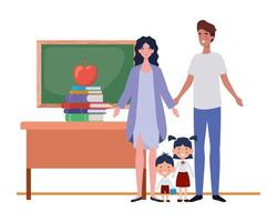 coppia di genitori con bambini avatar personaggio vettore