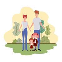 genitori con bambini nel paesaggio vettore