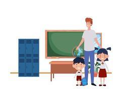 uomo con figli di ritorno a scuola vettore