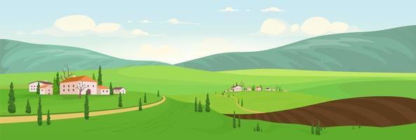 stagione di semina nei villaggi collinari vettore