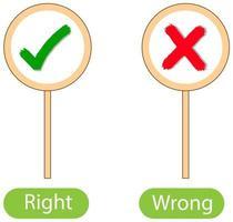 parole opposte con giusto e sbagliato vettore