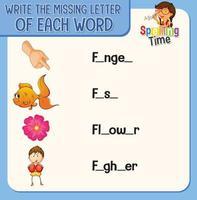 scrivi la lettera mancante di ogni foglio di lavoro di parole per i bambini vettore