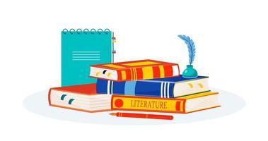 libri di letteratura impilati vettore