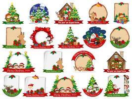 set di modello di cartolina di Natale vuoto isolato su priorità bassa bianca vettore