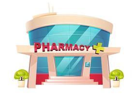 edificio vetrina farmacia vettore