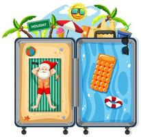 Babbo Natale in tema di spiaggia estiva di bagagli vettore