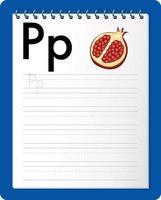 foglio di lavoro per tracciare l'alfabeto con la lettera pe p vettore