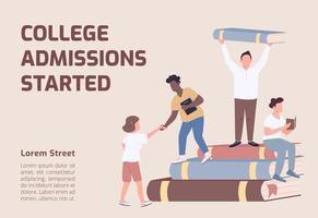 ammissioni al college iniziato banner vettore