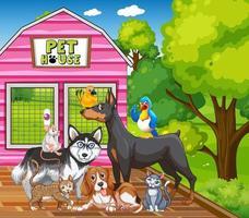 gruppo di animali domestici nella scena del parco vettore
