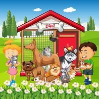 gruppo di animali domestici con il proprietario nella scena del parco vettore