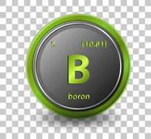 elemento chimico del boro. simbolo chimico con numero atomico e massa atomica.