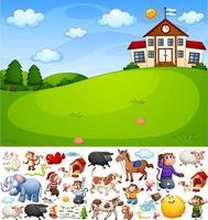 scena della scuola con personaggio dei cartoni animati e oggetti isolati vettore