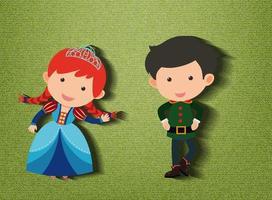 piccola principessa e personaggio dei cartoni animati di guardia su sfondo verde vettore