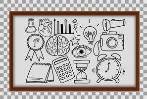 diversi tratti di doodle sulle attrezzature scolastiche nel telaio di legno su sfondo trasparente