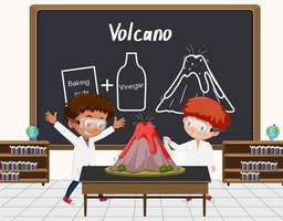 giovane scienziato che fa esperimento sul vulcano davanti a una tavola in laboratorio vettore
