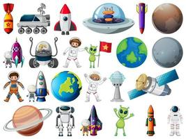 insieme di oggetti spaziali ed elementi isolati su sfondo bianco vettore