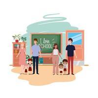 gruppo di genitori con bambini avatar personaggio vettore