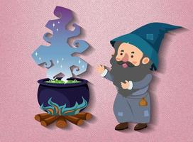 personaggio dei cartoni animati piccolo mago con pentola pozione vettore