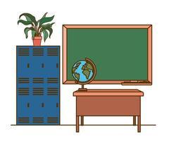 lavagna della scuola in aula vettore