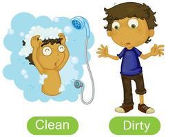 parole opposte con pulito e sporco vettore