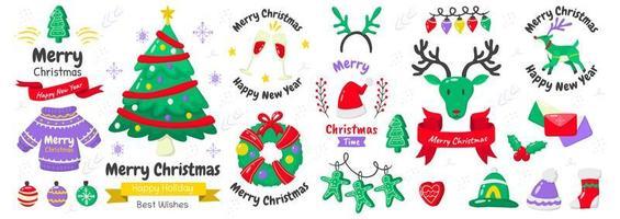 set di elementi ed emblemi di Natale