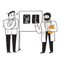medici che esaminano e diagnosticano il paziente dai raggi x vettore