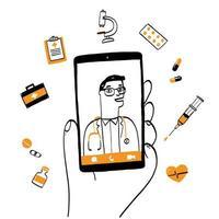 schermo dello smartphone con conslutazione online di terapista maschio vettore