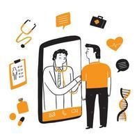 supporto medico online tramite smartphone vettore