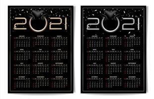 calendario nero 2021 con anello al naso di toro vettore
