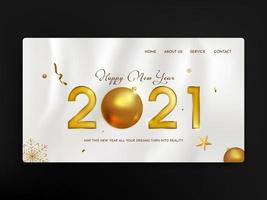 pagina di destinazione del felice anno nuovo 2021