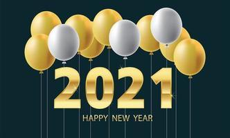 felice anno nuovo palloncini e numeri in metallo dorato