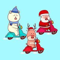 Babbo Natale e gli amici cavalcano un cartone animato di scooter