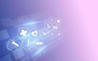 modello di icona di assistenza sanitaria progettazione del fondo di concetto di innovazione medica