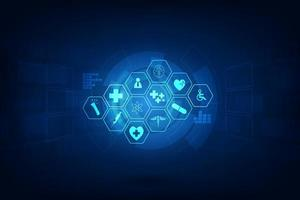 icone mediche su sfondo astratto tech