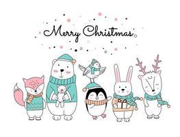 disegno di Natale con simpatici animali