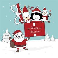 disegno di natale con santa holding regalo con personaggi vettore