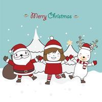 design biglietto di auguri di Natale con simpatici personaggi vettore