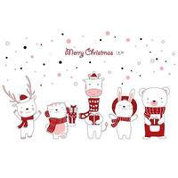 design natalizio con simpatici animali che tengono regali
