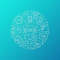 raccolta di icone di vendita di cyber lunedì. vettore