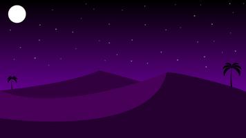 paesaggio notturno del deserto con sabbia e palme