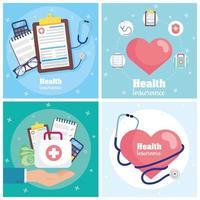 set di banner di concetto di servizio di assicurazione sanitaria vettore