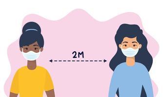 donne con maschere facciali che praticano l'allontanamento sociale vettore