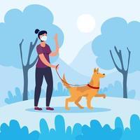 donna che cammina con il cane all'aperto vettore